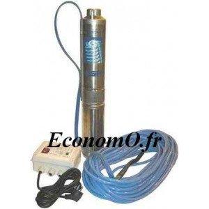 Pompe Pedrollo Immergée FORAPACK T409/15 de 0,6 à 6 m3/h entre 58 et 23 m HMT Tri 400 V 0,75 kW avec 15 m de Câble Alimentaire -