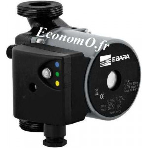 Circulateur Ebara Ego 25/60-180 Fonte de 0,3 à 3 m3/h entre 5,6 et 1,3 m HMT Mono 230 V 50 W - EconomO.fr