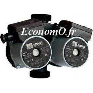 Circulateur Double Ebara Ego T 32/60-180 Fonte de 0,3 à 3 m3/h entre 5,6 et 1,3 m HMT Mono 230 V 50 W - EconomO.fr