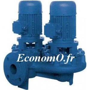 Pompe en Ligne Double Ebara LPCD4 40-125/0,25 R Fonte de 2,4 à 9 m3/h entre 4,6 et 2,2 m HMT 4 Pôles Tri 230/400 V 0,25 kW  - Ec