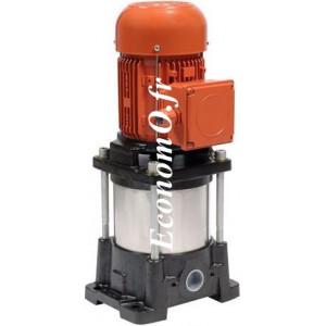 Pompe de Surface Salmson Multicellulaire Verticale MUV903-OE-M/2 de 2 à 14 m3/h entre 34 et 13 m HMT Mono 230 V 1,1 kW - EconomO