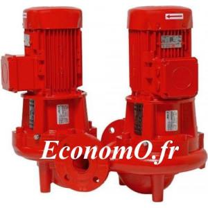 Pompe en Ligne Double Salmson DIL412-27/15 de 40 à 395 m3/h entre 25,5 et 18,5 m HMT Tri 400 V 15 kW  - EconomO.fr
