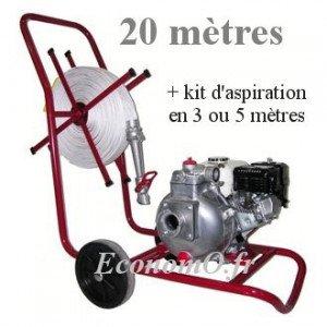 Motopompe Incendie TSURUMI Essence HP TEF3 50 H VC 14 m3/h a 51 m HMT + Aspireau 5 m + Refoulement 20 m + Lance Hudget + Chariot