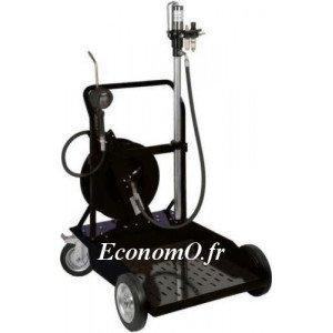 Pompe à Huile Pneumatique 5:1 Renson 17 l/min Canne 950 mm pour pour Fût de 200 L sur Chariot Roule Fût avec Enrouleur - EconomO