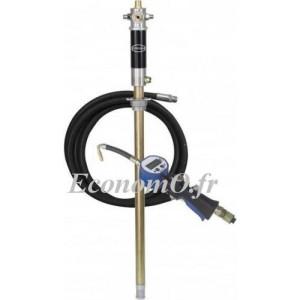 Pompe à Huile Pneumatique 5:1 Renson 18 l/min Canne 750 mm pour Tonnelet de 50 à 60 kg avec Tuyau et Pistolet à Compteur - Econo