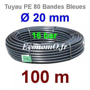 Tuyau PE 80 Bande Bleue Ø 20 mm PN16 - 100 mètres Ø int. 14 mm SDR 9 - EconomO.fr