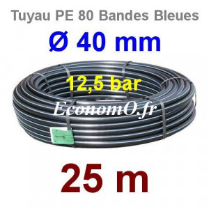 Tuyau PE 80 Bande Bleue Ø 40 mm PN12,5 - 25 mètres Ø int. 32,6 mm SDR 11 - EconomO.fr
