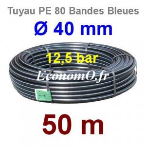 Tuyau PE 80 Bande Bleue Ø 40 mm PN12,5 - 50 mètres Ø int. 32,6 mm SDR 11 - EconomO.fr