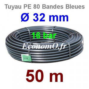 Tuyau PE 80 Bande Bleue Ø 32 mm PN16 - 50 mètres Ø int. 24,8 mm SDR 9 - EconomO.fr