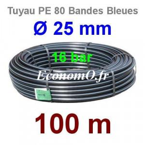 Tuyau PE 80 Bande Bleue Ø 25 mm PN16 - 100 mètres Ø int. 19 mm SDR 9 - EconomO.fr