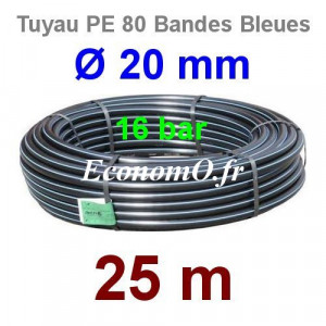 Tuyau PE 80 Bande Bleue Ø 20 mm PN16 - 25 mètres Ø int. 14 mm SDR 9 - EconomO.fr