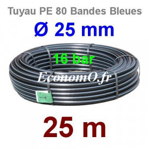 Tuyau PE 80 Bande Bleue Ø 25 mm PN16 - 25 mètres Ø int. 19 mm SDR 9 - EconomO.fr