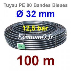 Tuyau PE 80 Bande Bleue Ø 32 mm PN12,5 - 100 mètres Ø int. 26 mm SDR 11 - EconomO.fr