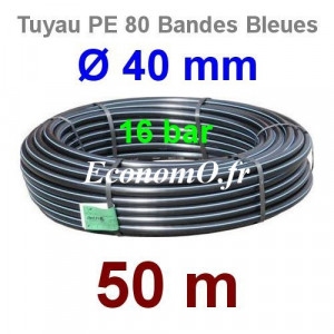 Tuyau PE 80 Bande Bleue Ø 40 mm PN16 - 50 mètres Ø int. 31 mm SDR 9 - EconomO.fr