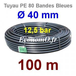 Tuyau PE 80 Bande Bleue Ø 40 mm PN12,5 - 100 mètres Ø int. 32,6 mm SDR 11 - EconomO.fr