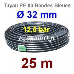 Tuyau PE 80 Bande Bleue Ø 32 mm PN12,5 - 25 mètres Ø int. 26 mm SDR 11 - EconomO.fr