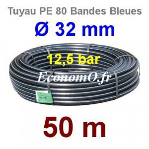Tuyau PE 80 Bande Bleue Ø 32 mm PN12,5 - 50 mètres Ø int. 26 mm SDR 11 - EconomO.fr