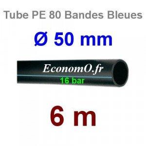 Tube PE 80 Bande Bleue Ø 50 mm PN16 - 6 mètres Ø int. 38,8 mm SDR 9 - EconomO.fr