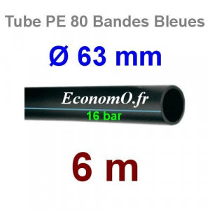Tube PE 80 Bande Bleue Ø 63 mm PN16 - 6 mètres Ø int. 48,6 mm SDR 9 - EconomO.fr