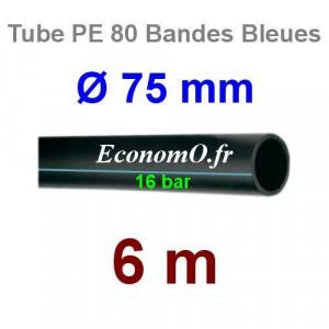 Tube PE 80 Bande Bleue Ø 75 mm PN16 - 6 mètres Ø int. 58,2 mm SDR 9 - EconomO.fr