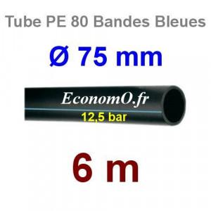 Tube PE 80 Bande Bleue Ø 75 mm PN12,5 - 6 mètres Ø int. 61,4 mm SDR 11 - EconomO.fr