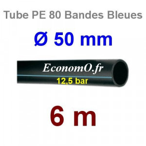 Tube PE 80 Bande Bleue Ø 50 mm PN12,5 - 6 mètres Ø int. 40,8 mm SDR 11 - EconomO.fr