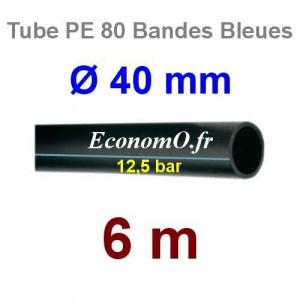Tube PE 80 Bande Bleue Ø 40 mm PN12,5 - 6 mètres Ø int. 32,6 mm SDR 11 - EconomO.fr