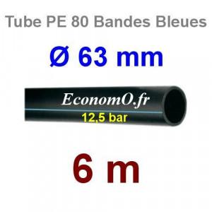 Tube PE 80 Bande Bleue Ø 63 mm PN12,5 - 6 mètres Ø int. 51,4 mm SDR 11 - EconomO.fr