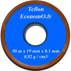Ruban de Téflon 19 mm de Largeur 0,1 mm d'épaisseur 50 m de long - EconomO.fr
