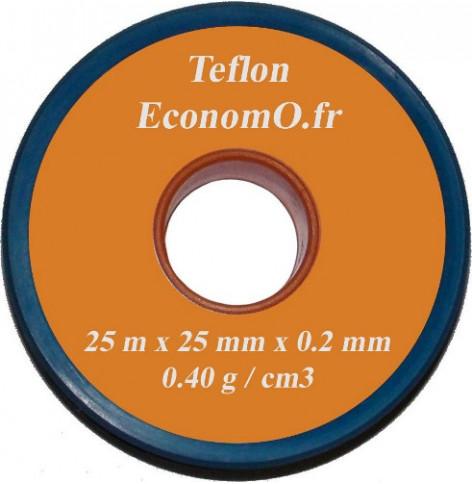 Ruban de Téflon 25 mm de Largeur 0,2 mm d'épaisseur 25 m de long - EconomO.fr