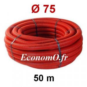 Gaine Électrique Rouge TPC Ø 75 mm Couronne de 50 mètres - EconomO.fr