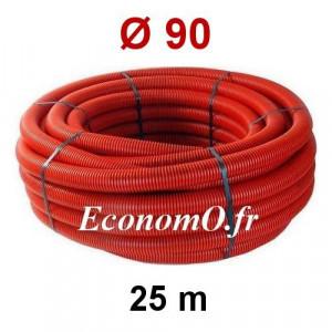 Gaine Électrique Rouge TPC Ø 90 mm Couronne de 25 mètres - EconomO.fr