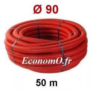 Gaine Électrique Rouge TPC Ø 90 mm Couronne de 50 mètres - EconomO.fr