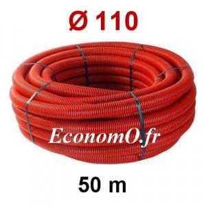 Gaine Électrique Rouge TPC Ø 110 mm Couronne de 50 mètres - EconomO.fr
