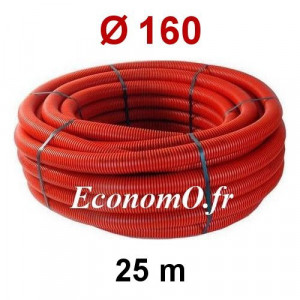 Gaine Électrique Rouge TPC Ø 160 mm Couronne de 25 mètres - EconomO.fr