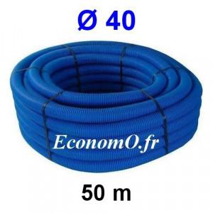 Gaine Bleue pour Tuyau ou Tube d'Eau Ø 40 mm Couronne de 50 mètres - EconomO.fr