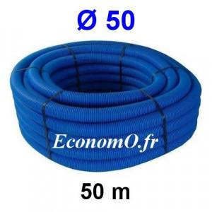 Gaine Bleue pour Tuyau ou Tube d'Eau Ø 50 mm Couronne de 50 mètres - EconomO.fr