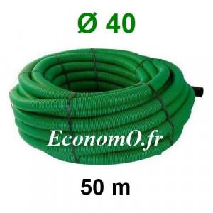 Gaine Verte pour Tous Usages Ø 40 mm Couronne de 50 mètres - EconomO.fr