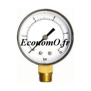 """Manomètre Radial 0 à 10 bars en ABS à sec D63 M 1/4"""" (8 x 13) - EconomO.fr"""