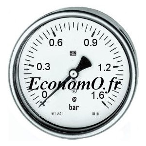 """Manomètre Axial 0 à 1,6 bars en Inox à Glycérine D63 M 1/4"""" (8 x 13) - EconomO.fr"""
