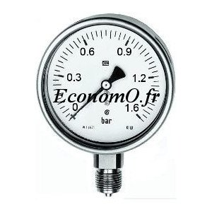 """Manomètre Radial 0 à 1,6 bars en Inox à Glycérine D63 M 1/4"""" (8 x 13) - EconomO.fr"""