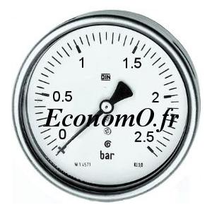 """Manomètre Axial 0 à 2,5 bars en Inox à Glycérine D63 M 1/4"""" (8 x 13) - EconomO.fr"""