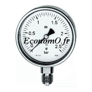 """Manomètre Radial 0 à 2,5 bars en Inox à Glycérine D63 M 1/4"""" (8 x 13) - EconomO.fr"""