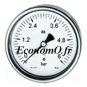 """Manomètre Axial 0 à 6 bars en Inox à Glycérine D63 M 1/4"""" (8 x 13) - EconomO.fr"""