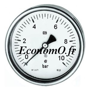 """Manomètre Axial 0 à 10 bars en Inox à Glycérine D63 M 1/4"""" (8 x 13) - EconomO.fr"""