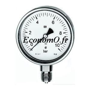 """Manomètre Radial 0 à 10 bars en Inox à Glycérine D63 M 1/4"""" (8 x 13) - EconomO.fr"""