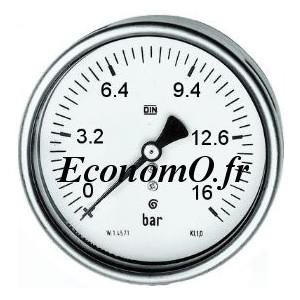 """Manomètre Axial 0 à 16 bars en Inox à Glycérine D63 M 1/4"""" (8 x 13) - EconomO.fr"""