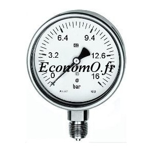"""Manomètre Radial 0 à 16 bars en Inox à Glycérine D63 M 1/4"""" (8 x 13) - EconomO.fr"""