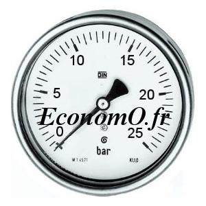 """Manomètre Axial 0 à 25 bars en Inox à Glycérine D63 M 1/4"""" (8 x 13) - EconomO.fr"""