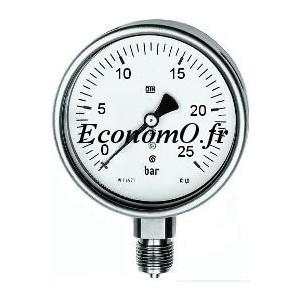 """Manomètre Radial 0 à 25 bars en Inox à Glycérine D63 M 1/4"""" (8 x 13) - EconomO.fr"""